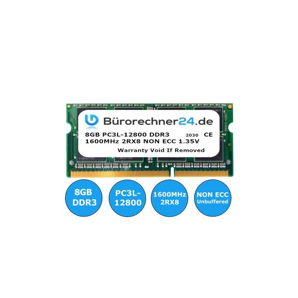 Bürorechner24.de 8GB DDR3 SODIMM Laptop-RAM | PC3L-12800 | 1600MHz 2RX8 | NON ECC | 1,35V